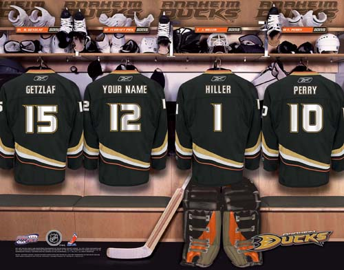 ANAHEIM MIGHTY DUCKS NHL LOCKER ROOM PRINT