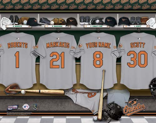 BALTIMORE ORIOLES MLB LOCKER ROOM PRINT