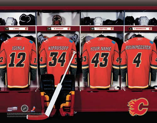 CALGARY FLAMES NHL LOCKER ROOM PRINT
