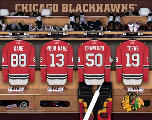 CHICAGO BLACKHAWKS NHL LOCKER ROOM PRINT