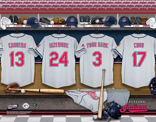CLEVELAND INDIANS MLB LOCKER ROOM PRINT