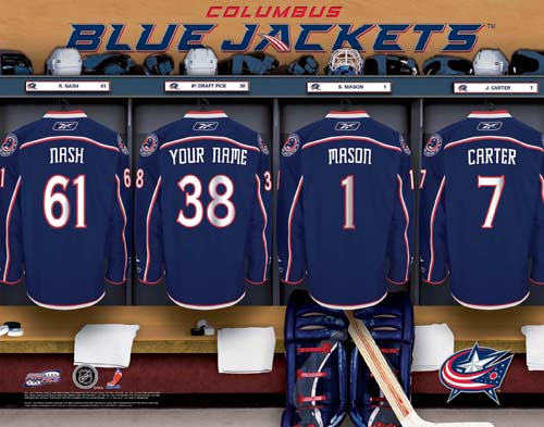 COLUMBUS BLUE JACKETS NHL LOCKER ROOM PRINT
