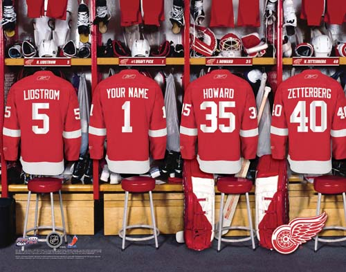 DETROIT REDWINGS NHL LOCKER ROOM PRINT