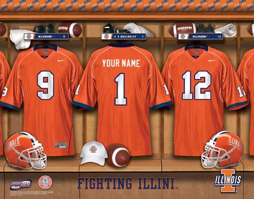ILLINOIS FIGHTING ILLINI NCAA LOCKER ROOM PRINT