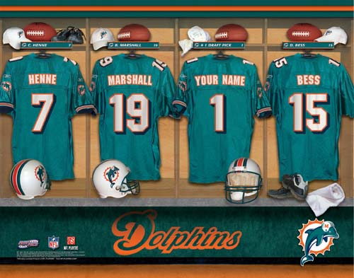 MIAMI DOLPHINS NFL LOCKER ROOM PRINT