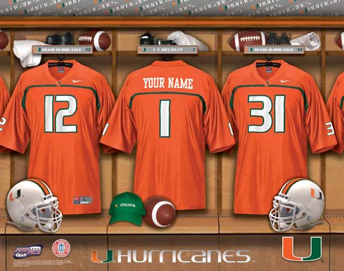 MIAMI HURRICANES NCAA LOCKER ROOM PRINT