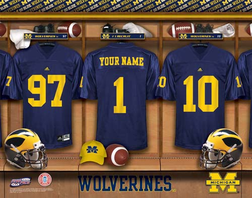 MICHIGAN WOLVERINES NCAA LOCKER ROOM PRINT