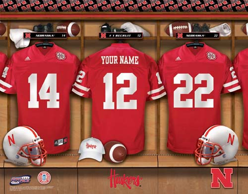 NEBRASKA HUSKERS NCAA LOCKER ROOM PRINT