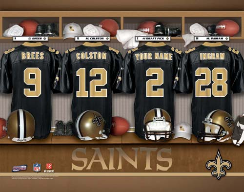 NEW ORLEANS SAINTS NFL LOCKER ROOM PRINT