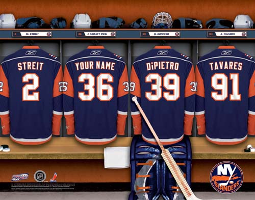 NEW YORK ISLANDERS NHL LOCKER ROOM PRINT