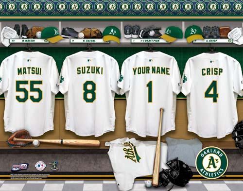 OAKLAND ATHLETICS MLB LOCKER ROOM PRINT
