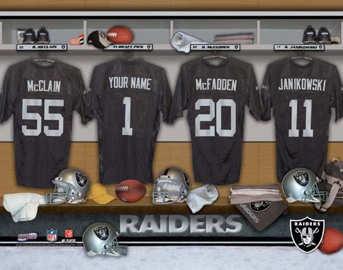 OAKLAND RAIDERS NFL LOCKER ROOM PRINT