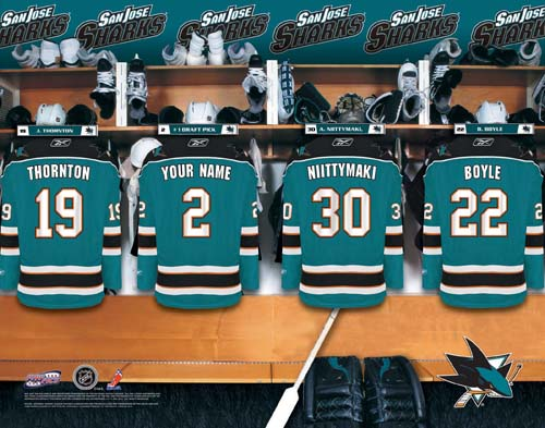 SAN JOSE SHARKS NHL LOCKER ROOM PRINT