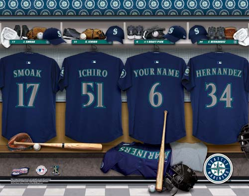 SEATTLE MARINERS MLB LOCKER ROOM PRINT - Click Image to Close