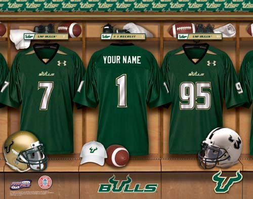 SOUTH FLORIDA BULLS NCAA LOCKER ROOM PRINT