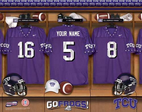 TEXAS CHRISTIAN UNIVERSITY HORNED FROGS NCAA LOCKER ROOM PRINT