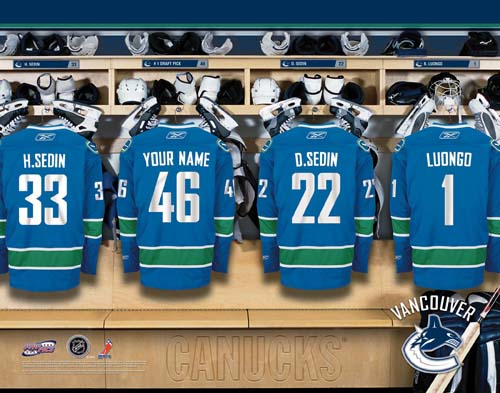 VANCOUVER CANUCKS NHL LOCKER ROOM PRINT