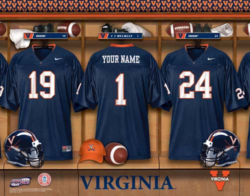 VIRGINIA HOOS CAVALIERS NCAA LOCKER ROOM PRINT