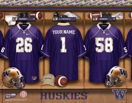 WASHINGTON HUSKIES NCAA LOCKER ROOM PRINT