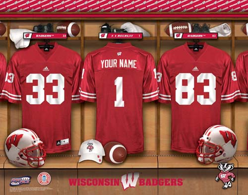 WISCONSIN BADGERS NCAA LOCKER ROOM PRINT
