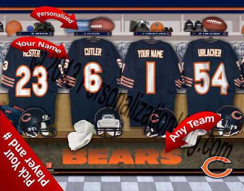 CHICAGO BEARS NFL LOCKER ROOM PRINT