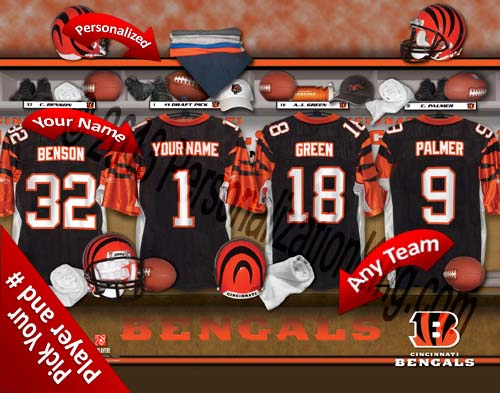 CINCINNATI BENGALS NFL LOCKER ROOM PRINT