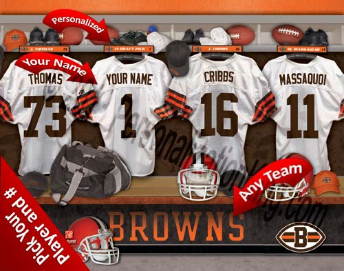 CLEVELAND BROWNS NFL LOCKER ROOM PRINT