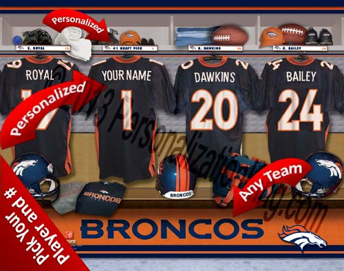 DENVER BRONCOS NFL LOCKER ROOM PRINT