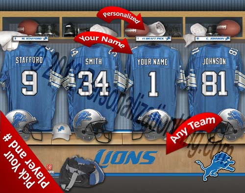 DETROIT LIONS NFL LOCKER ROOM PRINT