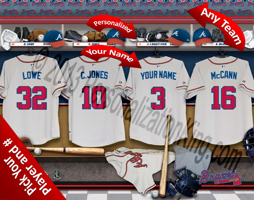 Atlanta Braves MLB Personalized Locker Room Print