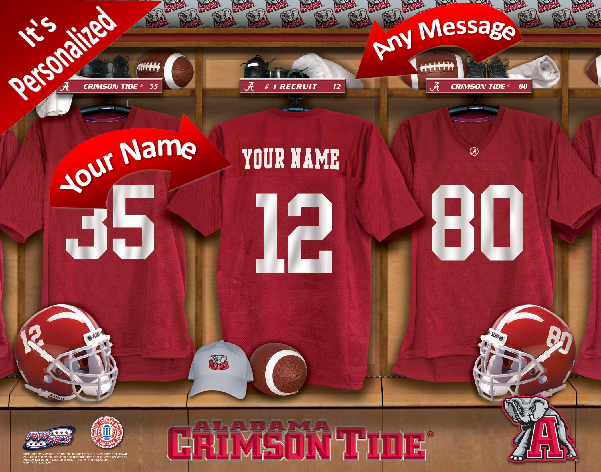 NCAA College Football locker room Personalized Prints