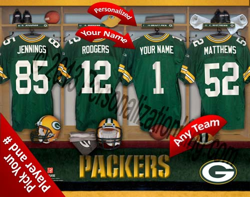 GREEN BAY PACKERS NFL LOCKER ROOM PRINT