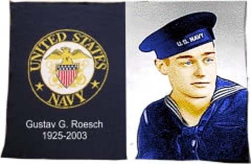 "40"" x 60"" Navy Militay Knit Photo Throw Blanket"