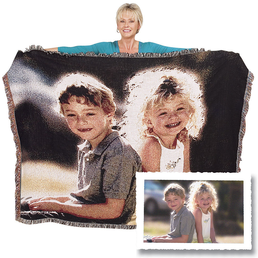 "50"" x 60"" Color Woven Photo Throw with Fringe - Click Image to Close"