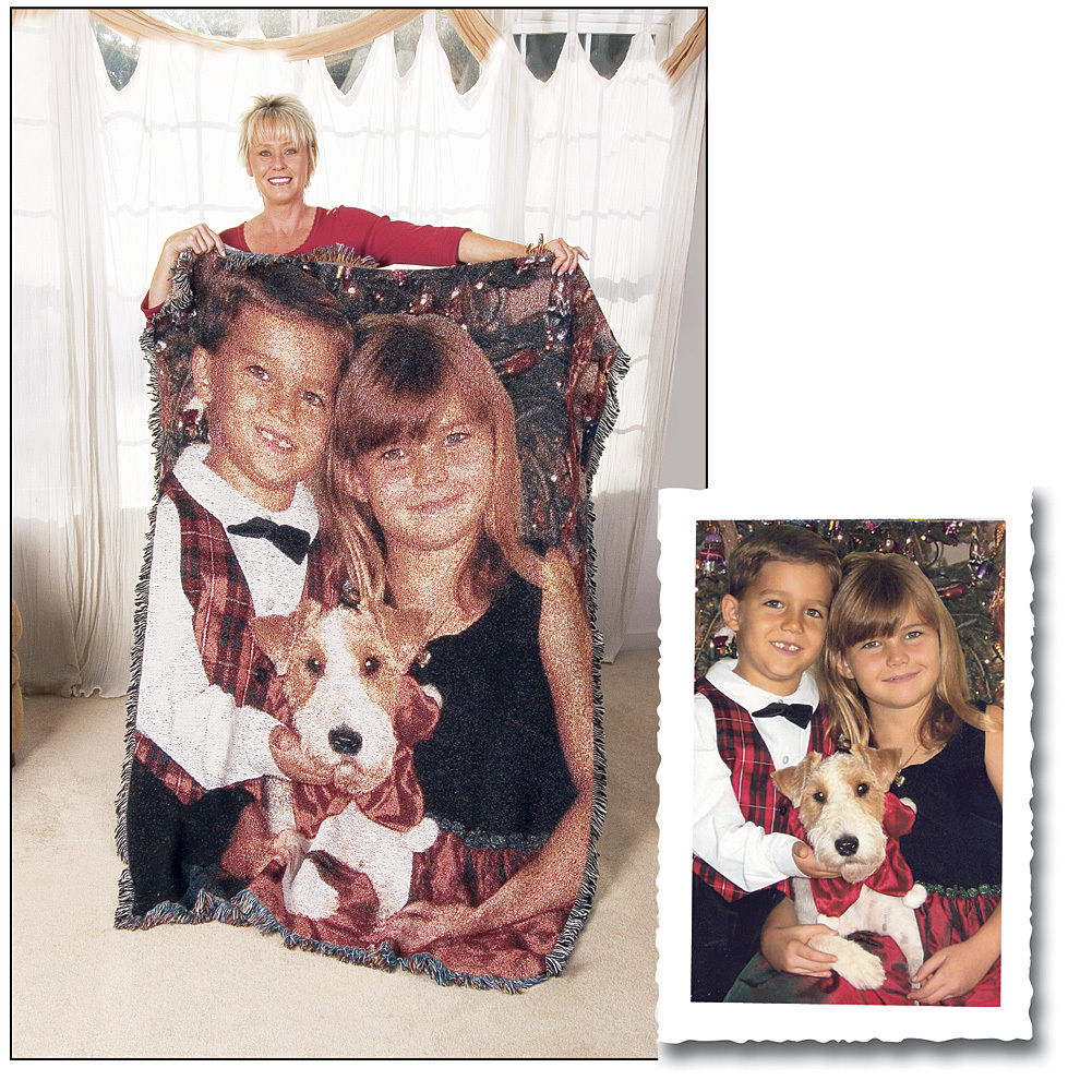 "60"" x 80"" Color Woven Photo Throw With Fringe"